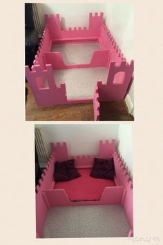 Homemade pink castle whelping box