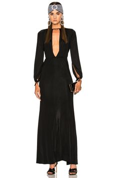 ALESSANDRA RICH Jersey Deep V Gown. #alessandrarich #cloth #