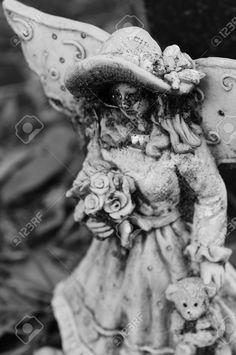 black teddy bear - Google Search Black Teddy Bear, Peculiar Children, Cemetery Art, Holding Flowers, Statue, Bodies, Google Search, Art, Sculptures