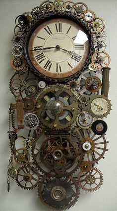 Steampunk Clock with Gears   - 30 Cool & Unusual DIY Clocks for a Great Time - Big DIY Ideas