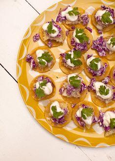 Mini Fish Tacos! www.abeautifulmess.com