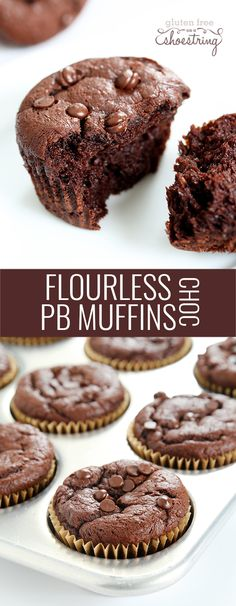 With just a few ingredients, these flourless chocolate peanut butter muffins are impossibly moist and tender. No grains, no dairy, no flour. Amazing! http://glutenfreeonashoestring.com/flourless-chocolate-peanut-butter-muffins/