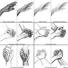 How to draw hands step 4: always start with a gesture drawing and then refine it after smudging in the gesture lines. Beyond that, work on how hands can interact with one another. For example, interlocking fingers, prayer poses, handshakes, and palm locks are common poses to study.