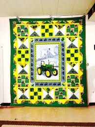 Beautiful Imagine Art Print A Green Tractor John Deere On The Farm Pretty Gift For Tractor John Deere Lover Quilt Baby Girl Quilts, Boy Quilts, Girls Quilts, Tractor Quilt, Farm Quilt, Tractor Room, Fabric Panel Quilts, Strip Quilts, Fabric Panels
