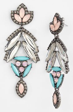 Pretty pastel crystal drop earrings.