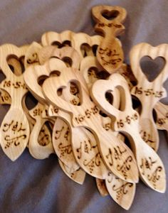 Personalised welsh love spoons for wedding favours