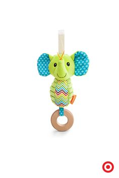 Keep your baby engaged and entertained with the Infantino Go Ga Ga Elephant Chime, a plush toy you can attach to a stroller, car seat or activity gym. Brightly colored and invitingly textured, with a wooden teething ring and a sweet-sounding chime, it offers your child loads of sensory fun.
