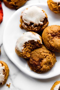 These super soft pumpkin cookies are perfectly spiced, extra thick, and very easy to make. Dress up your new favorite fall cookie with maple cream cheese icing. Recipe on sallysbakingaddiction.com