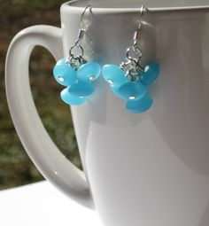 Blue Sea Glass Cluster Earrings by creationsbycandice