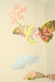 Polly Want A Crafter?: Beautiful Handmade Butterfly Mobile from Patterned Paper