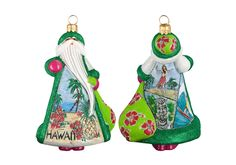 Hawaii Santa Glass Christmas Ornament