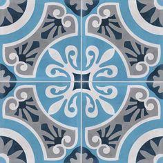 4 carreaux de ciment PREMIUM Cercle bleu, 40 x 40 cm