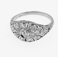 Vintage Art Deco 18k White Gold Diamond Engagement Ring by louise57