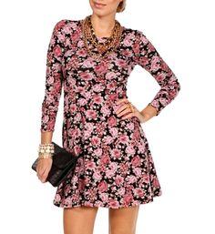 Black/Pink Floral Skater Dress