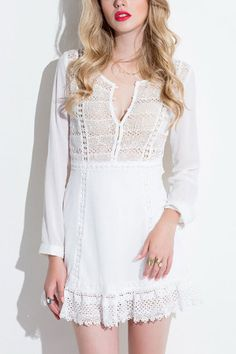 Hollow Out Lace Dress with Long Sleeves - US$33.95 -YOINS