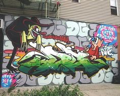 Giz and Rime's mural, dedicated to DG -- outside Low Brow Artique in Bushwick