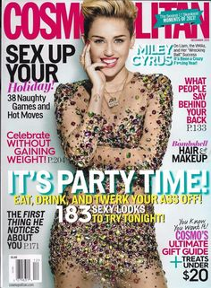 Cosmopolitan magazine Miley Cyrus Party fashion Hair and makeup Gift guide
