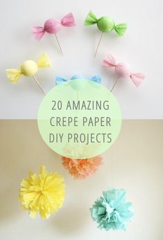 """20 Amazing Crepe Paper DIY Projects!"" Crepe is ridiculously inexpensive (2 for $1 at the Dollar Tree) and I never know what to use it for. Now I do! Woo!"
