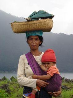 Balinese mother and son, Kintamani, Bali