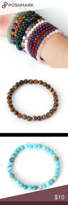 Semi Precious Stretch Bracelets Buy 2 Get 1 Free Beautiful 6 mm Stretch Bracelets comes in different stones, for a customized bundle please ask! 6 mm. Priced individually, Buy 2 get one free, contact for individual bundle. Jewelry Bracelets