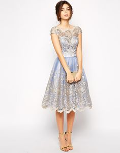 Chi Chi London Premium Metallic Lace Prom Dress with Bardot Neck- Bridesmaids £67.00