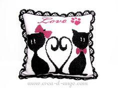 Chats romantiques Grille de point de croix - Copyright Créa d'Ange®