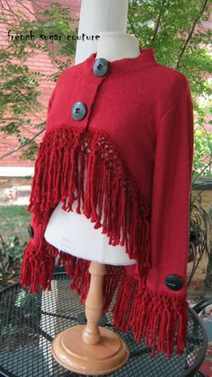 Cozy One-of-a-Kind knit jacket - altered. I love this ruby-red color and I adore the over-sized big black buttons. This garment started out as