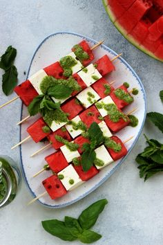 Take-Along Watermelon Skewers with Feta and Mint Pesto