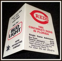 1985 CINCINNATI REDS BUD LIGHT BEER SPRING TRAINING BASEBALL POCKET SCHEDULE #Pocket #Schedule
