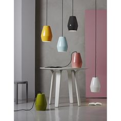 The Bell Pendant, designed in 2011 for Northern lighting by Mark Braun, is made from porcelain and consists of a range of 6 great colours, finished with a gloss glaze. The colours take inspiration from the Nordic landscape, soft and subtle. Perfect for use in rows above a dining table or kitchen work surface. Which colour will you choose?