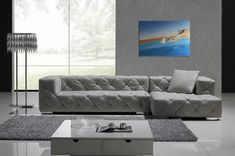 Chic Modern Grey Leather Sectional Sofa W/ Crystals Contemporary Design Grey Leather Sectional, Grey Sectional Sofa, Leather Corner Sofa, Best Leather Sofa, Modern Sectional, Tufted Sofa, Lounge Sofa, Couches, Sofa Bed