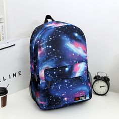 Bokinslon Simple Backpack Bags For Women Casual Starry Sky Female Canvas Backpack Fashion School Bag Woman Galaxy Backpack, Men's Backpack, Fashion Backpack, Cute Backpacks, Girl Backpacks, School Backpacks, Canvas Backpacks, Mochila Galaxy, School Bags For Girls