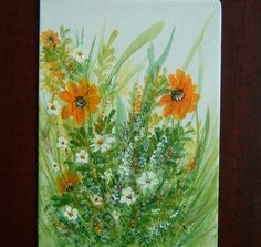 SALE BARGAIN floral acrylic painting (ref 789) £5.00