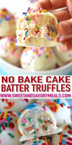 No Bake Cake Batter Truffles are very easy to make using funfetti cake mix. Loaded with lots of sprinkles and dipped in white chocolate, these are fun and delicious. # easy desserts videos No Bake Cake Batter Truffles [Video] - Sweet and Savory Meals Fun Easy Recipes, Sweets Recipes, Easy Meals, Dinner Recipes, Easter Recipes, Dinner Menu, Easter Baking Ideas, Easy Baking Recipes, Cake Mix Recipes