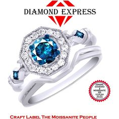 """1.00 Ct Genuine Blue Moissanite Real Diamond 14K Gold Halo Engagement Ring """"Mother\'s Day Gift"""". Starting at $89"""