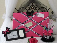 Zebra Memo Memory Note Board Hair Bow Photo 3 PC by SoZoeyBoutique, $30.90