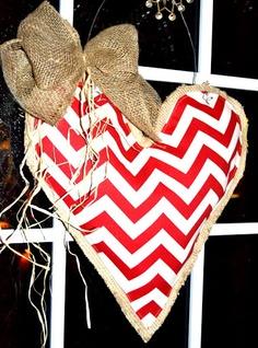 Chevron and burlap Valentine door or window hanger wreath