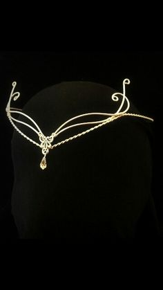 Elven gold circlet. Head dress, crown, tiara, wire wrap, wedding.