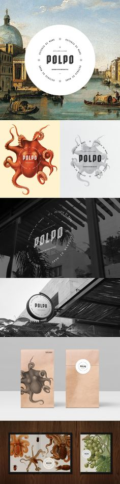 Polpo Restaurant, strong branding identity composed of beautiful illustration work!