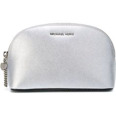 Michael Michael Kors Jet Set Make Up Bag (9.825 ISK) ❤ liked on Polyvore featuring beauty products, beauty accessories, bags & cases, grey, cosmetic bags & cases, leather travel bag, toiletry kits, leather makeup bag and leather cosmetic bag