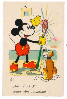 Disney - Pluto Watches Mickey Mouse Work a Microphone