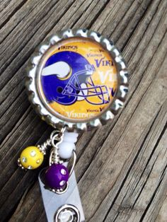 Vikings Inspired Badge Reel Minnesota Vikings Bottle Cap ID Badge Holder