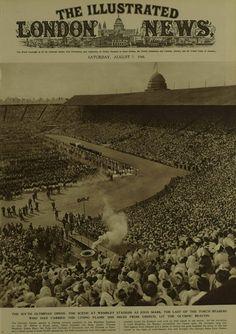 Image of the 1948 Olympics opening ceremony at Wembley Stadium