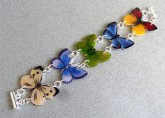 5 Butterflies BRACELET Plastic HANDMADE by Shrink Art Designs 005