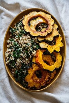 Roasted Acorn Squash and Apples with Quinoa, Kale, and Tahini Maple Dressing from Edible Perspective