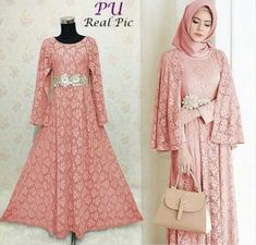 Baju Gamis Pesta Ratih Brokat Dress Brukat, Hijab Dress Party, Kebaya Dress, Chic Dress, Lace Dress, Dress Outfits, Dress Brokat Muslim, Muslim Gown, Kebaya Muslim