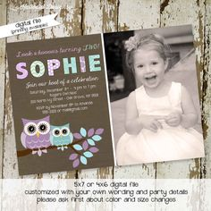 owl 1st birthday party invitations owl invitation and purple and aqua colors, digital, printable file (item 257) on Etsy, $13.00