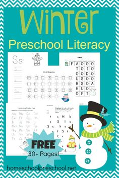 Encourage your little ones to practice their literacy skills with this FREE Winter-Themed Preschool Literacy Printable! | homeschoolpreschool.net