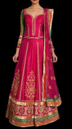 A fuschia color embroidered lehnga in matka silk with a net jacket. Dress Indian Style, Indian Dresses, Indian Wear, Indian Outfits, Designer Bridal Lehenga, Bridal Lehenga Choli, Women's Ethnic Fashion, Ethnic Wear Designer, Indian Clothes