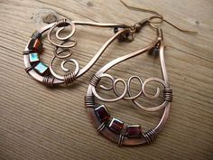wire wrapped jewelry handmade, earthy jewelry, copper earrings, one of a kind wire wrap earrings, hand made jewlery Etsy womens gift rustic